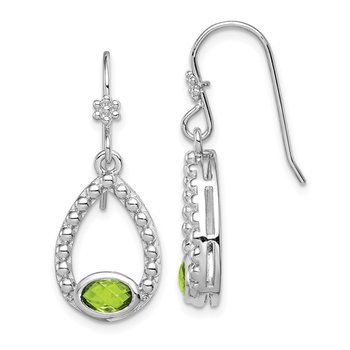 Sterling Silver Rhodium-plated Peridot Shepherd Hook Dangle Earrings