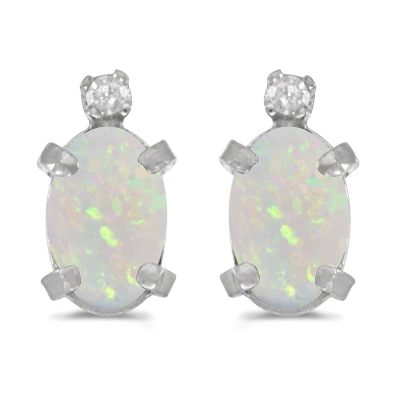 Sterling Silver Oval Opal and Diamond Earrings