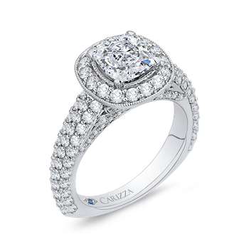 18K White Gold Cushion Diamond Halo Cathedral Style Engagement Ring (Semi-Mount)