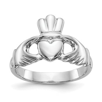14k White Gold Polished Men's Claddagh Ring