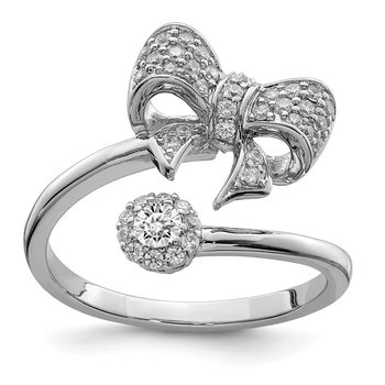 Sterling Silver Rhodium-plated Polished with CZ Bow Adjustable Ring