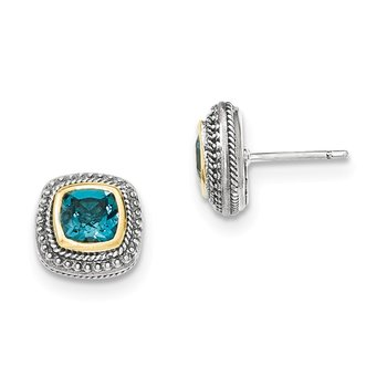 Sterling Silver w/14k London Blue Topaz Post Earrings