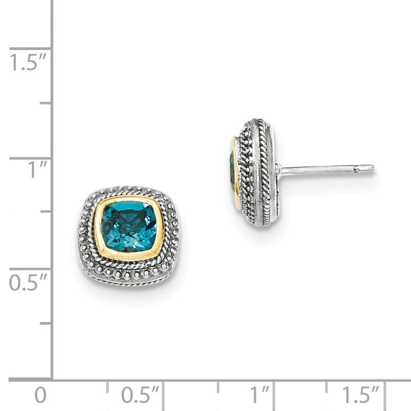 Shey Couture Sterling Silver w/14k London Blue Topaz Post Earrings