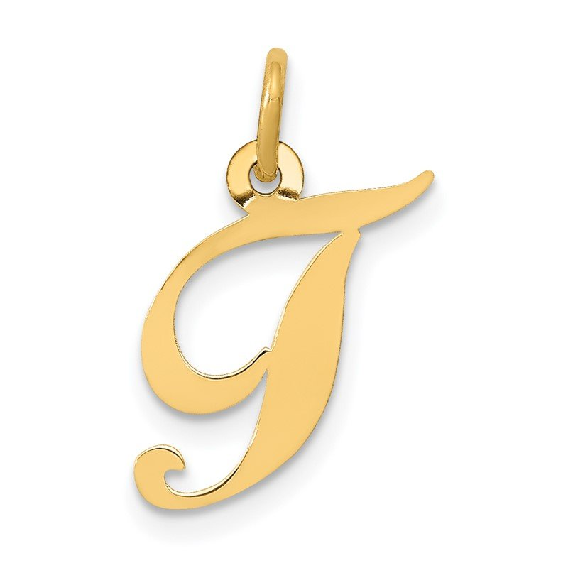 Quality Gold 14K Small Fancy Script Letter T Initial Charm