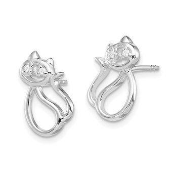 Sterling Silver Rhodium Plated CZ Open Cat Post Earrings