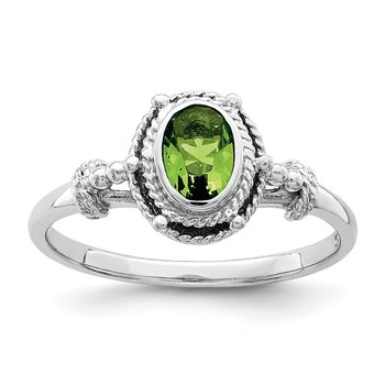 Sterling Silver Rhodium-plated with Green Oval CZ Stone Ring