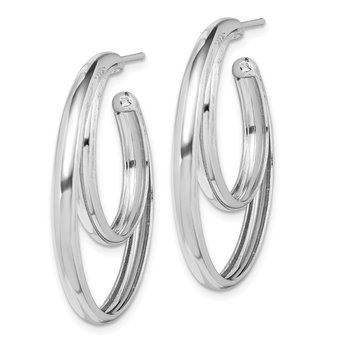 Sterling Silver Rhodium-plated 34x3.5 Double Hoop Post Earrings