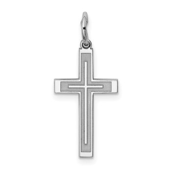 Sterling Silver Rhodium-plated Laser Designed Cross Charm