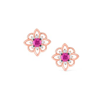Pink Sapphire & Diamond Arabesque Earrings Set in 14 Kt. Rose Gold
