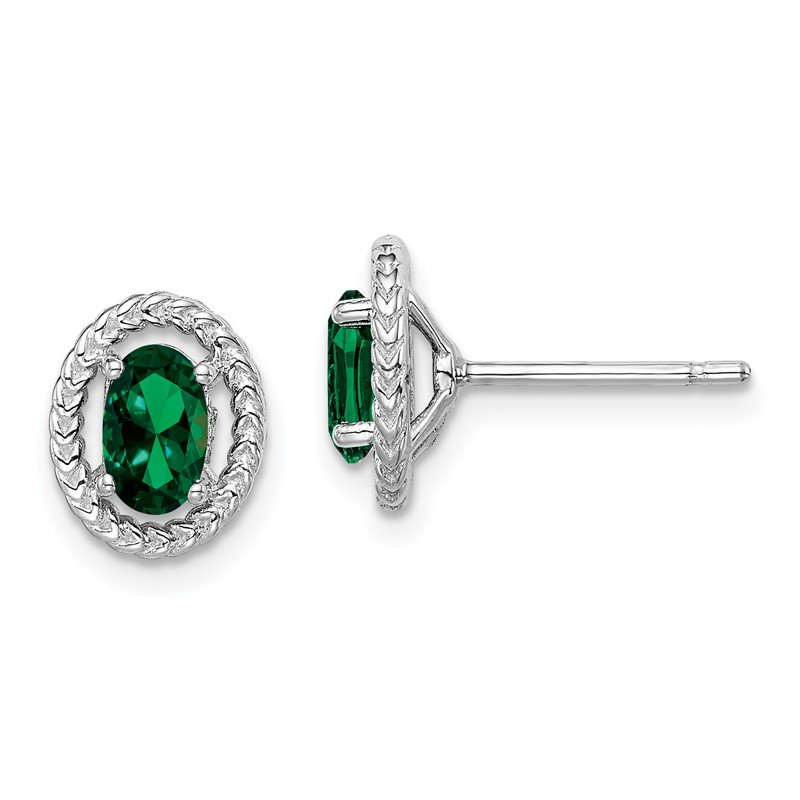 Quality Gold Sterling Silver Rhod-plat Created Emerald Oval Post Earrings