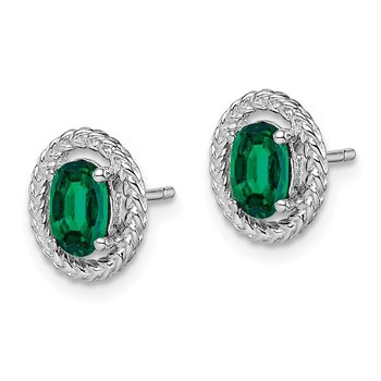 Sterling Silver Rhod-plat Created Emerald Oval Post Earrings