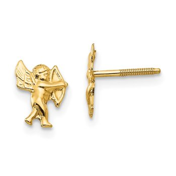 14k Madi K Polished Cupid Screwback Earrings