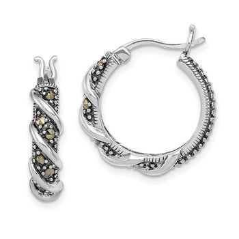 Sterling Silver Rhodium-plated Antiqued Swirl Hoop Marcasite Earrings