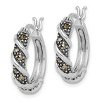 Quality Gold Sterling Silver Rhodium-plated Antiqued Swirl Hoop Marcasite Earrings