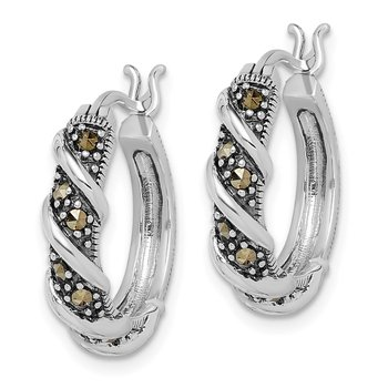 Sterling Silver Antiqued Swirl Hoop Marcasite Earrings