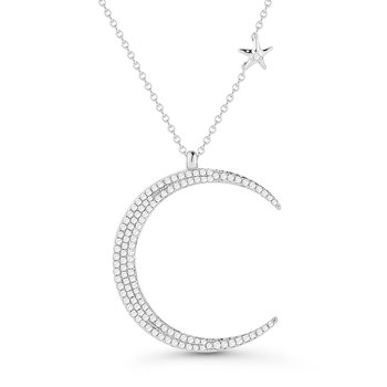 "14K Diamond Moon Necklace 0.54C, Small Diamond Starfish on 18"" Chain"