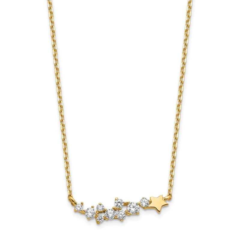 Quality Gold 14K Yellow Gold Shooting Star w/ 1in ext. CZ Necklace