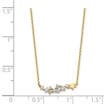 14K Yellow Gold Shooting Star w/ 1in ext. CZ Necklace