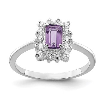 Sterling Silver Rhodium-plated Amethyst and CZ Ring