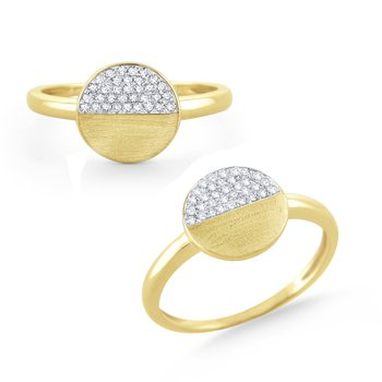 14 Kt. Brushed Gold & Diamond Round Disc Ring