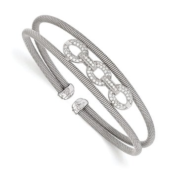 Leslie's Sterling Silver CZ Flexible Cuff Bangle