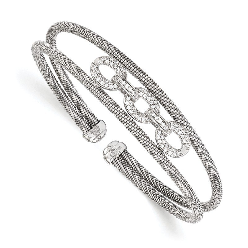 Leslie's Leslie's Sterling Silver CZ Flexible Cuff Bangle