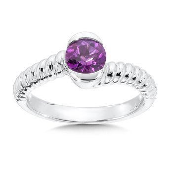 Sterling Silver Amethyst Colore Of Life Stack Ring