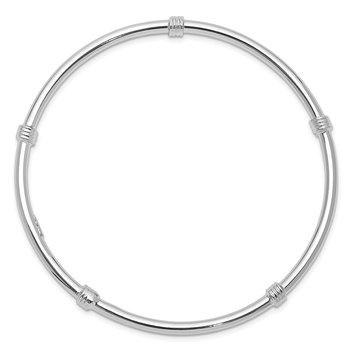 Sterling Silver Rhodium-plated Slip-on Bangle