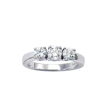 14k White Gold 1 ct 3 Stone Diamond Ring