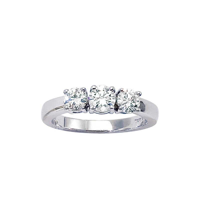 Color Merchants 14k White Gold 1 ct 3 Stone Diamond Ring
