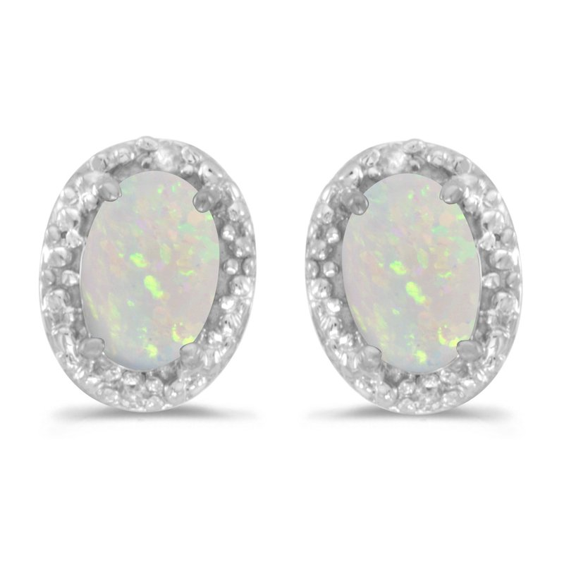 Color Merchants 10k White Gold Oval Opal And Diamond Earrings