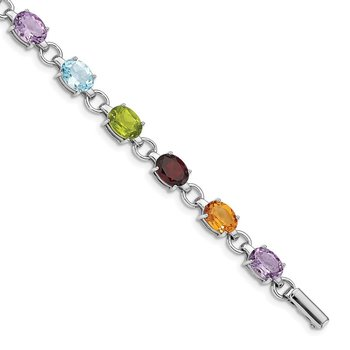 Sterling Silver Rhodium-plated Oval Multi-gemstone Bracelet