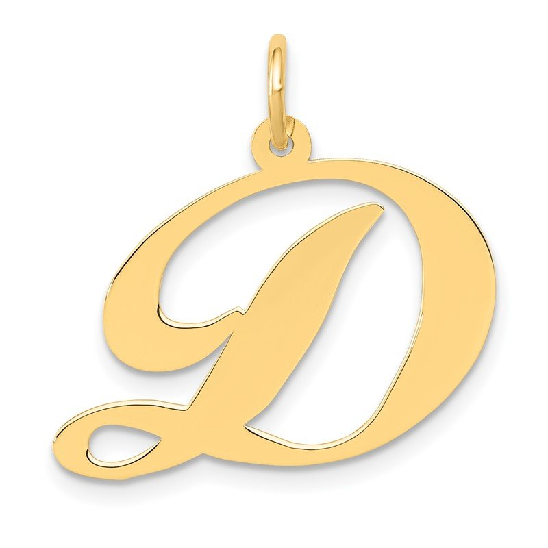 Quality Gold 14k Large Fancy Script Letter D Initial Charm