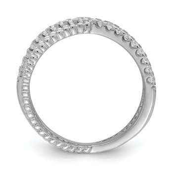Sterling Silver Rhodium-plated Polished & Textured w/ CZ Ring