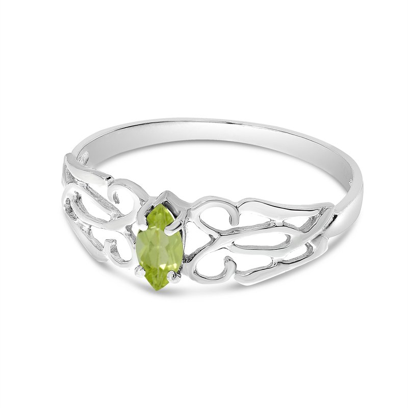 Color Merchants 10k White Gold Marquise Peridot Filagree Ring