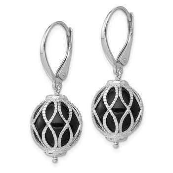 Sterling Silver Rhodium-plated Textured Onyx Leverback Earrings