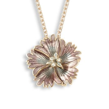 Purple Sweetness Flower Necklace.Rose Gold Plated Sterling Silver-White Sapphire