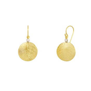 14K Yellow Gold Textured Round Drop Earrings