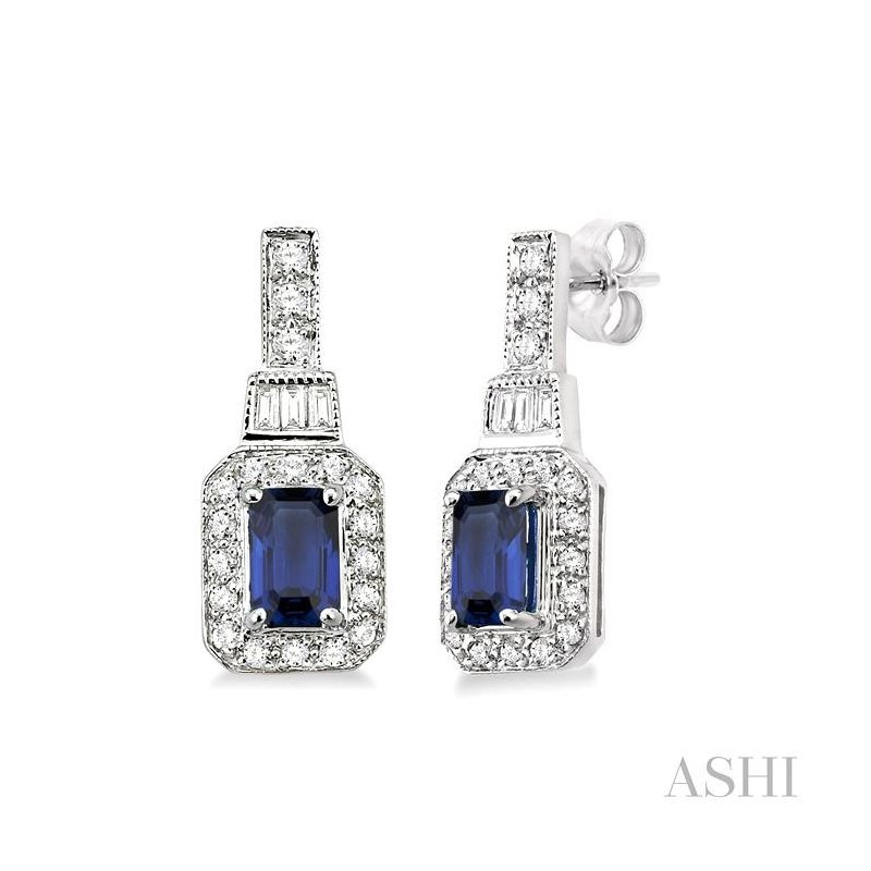 ASHI gemstone & diamond earrings