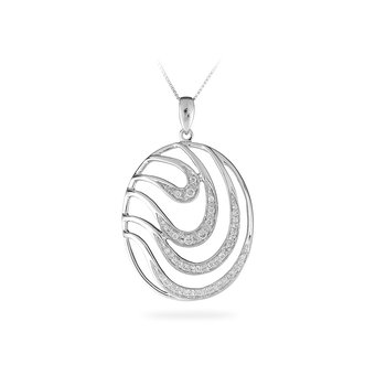 14K WG Diamond Oval Harmony Wave Pendant