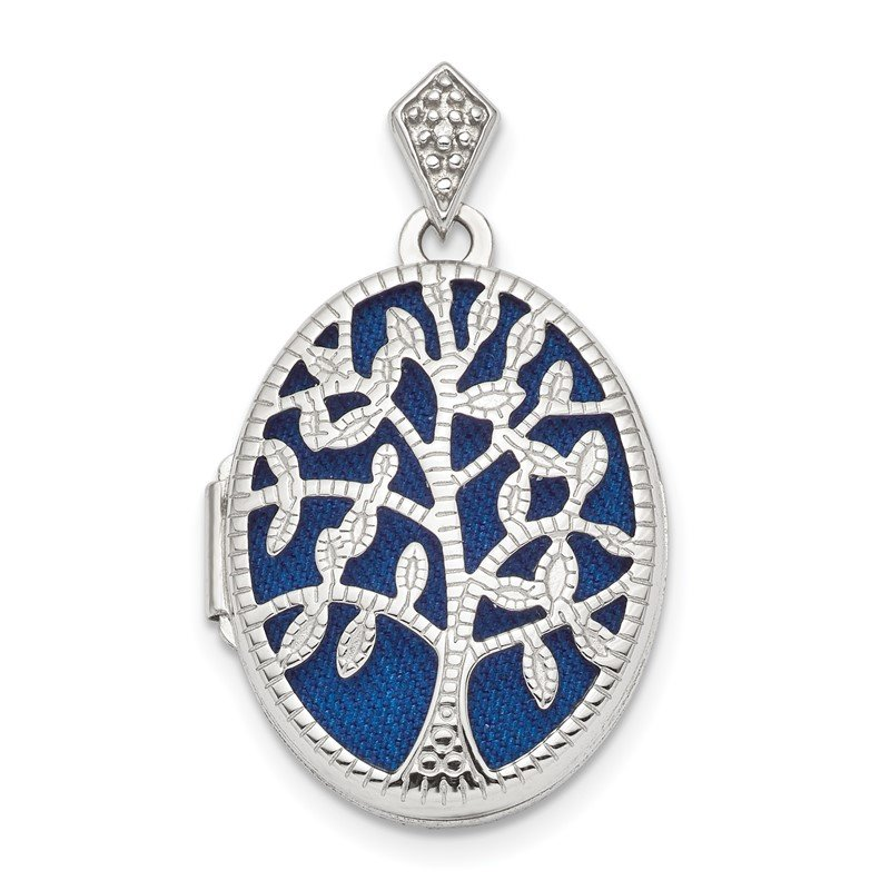 Sterling Silver Rhodium-plate Polished & Textured Diamond Tree Locket