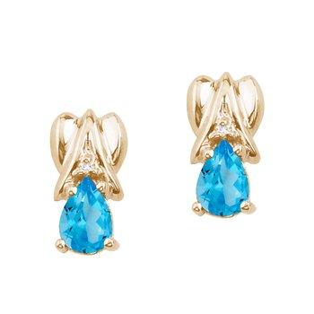 14k Yellow Gold Blue Topaz and Diamond Pear Shaped Earrings