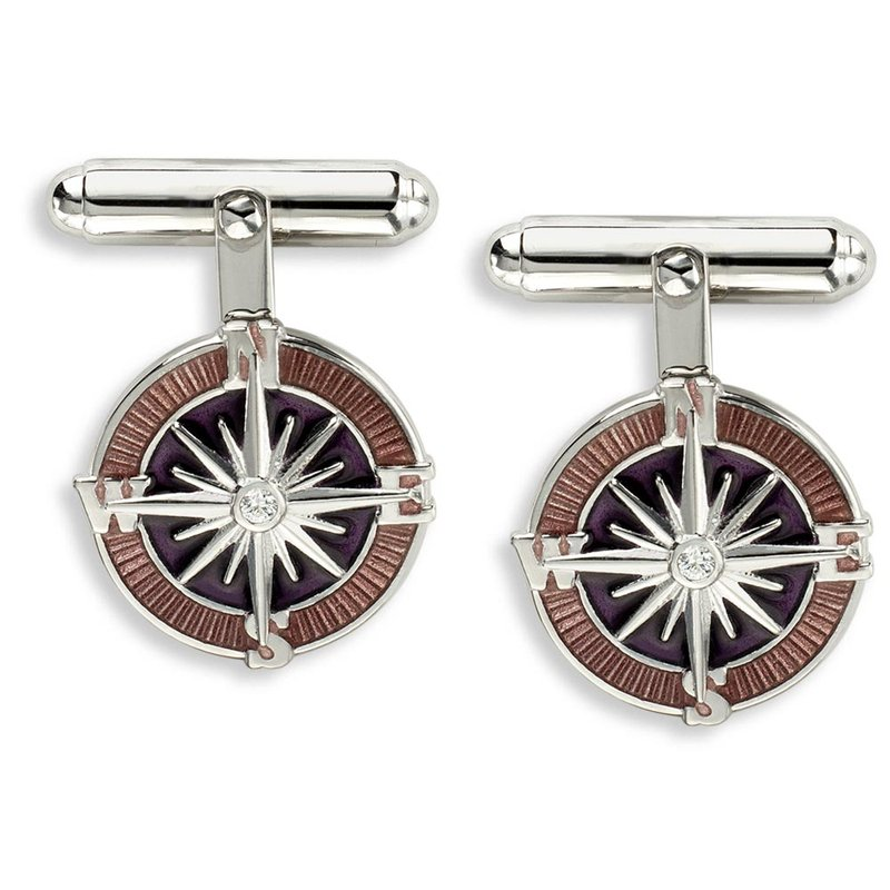 Nicole Barr Designs Purple Compass Rose T-Bar Cufflinks.Sterling Silver-White Sapphires