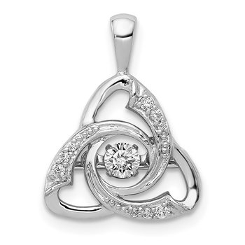 14k White Gold Vibrant Diamond Celtic Pendant