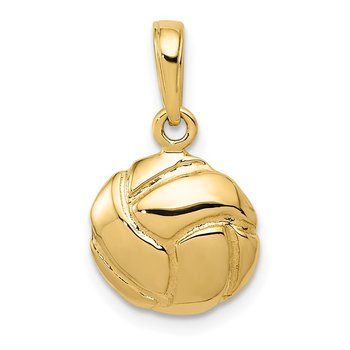 14K Solid Polished Open Back Volleyball Charm