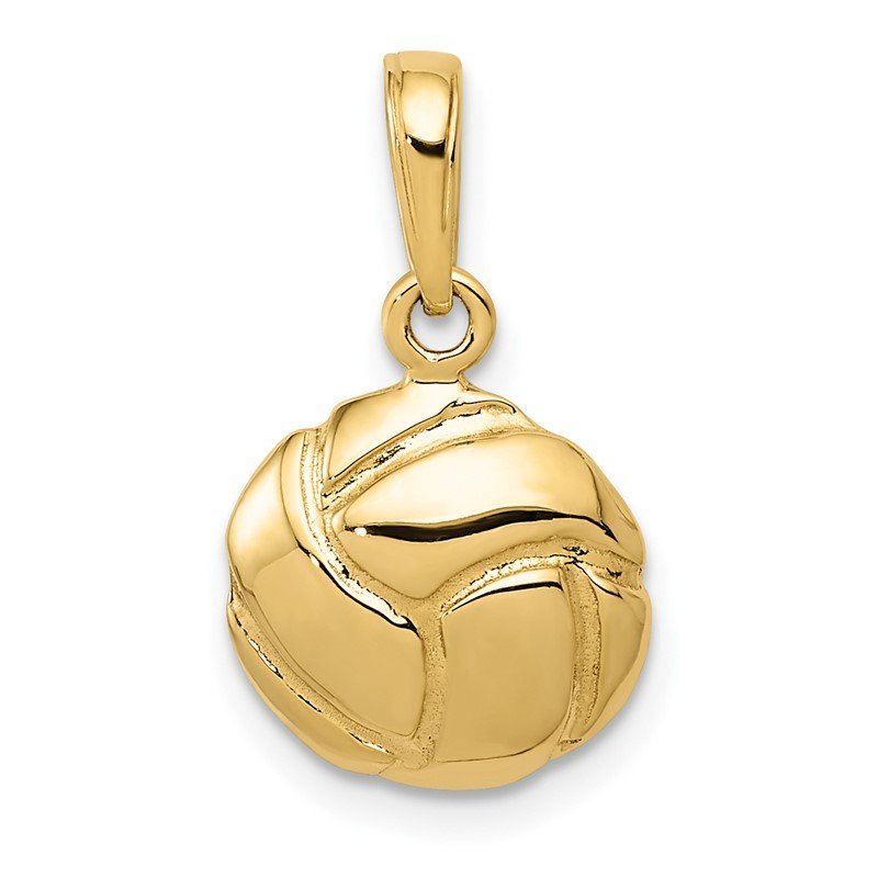 Quality Gold 14K Solid Polished Open Back Volleyball Charm