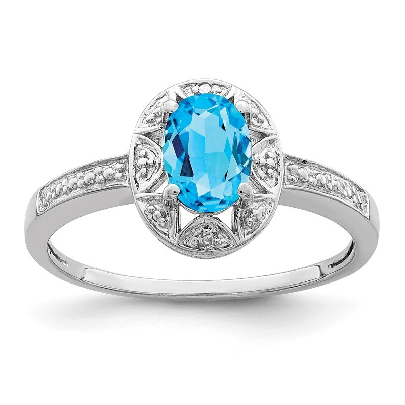 Quality Gold Sterling Silver Rhodium-plated Diam. & Blue Topaz Ring