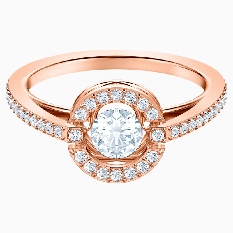 Swarovski Swarovski Sparkling Dance Round Ring, White, Rose-gold tone plated