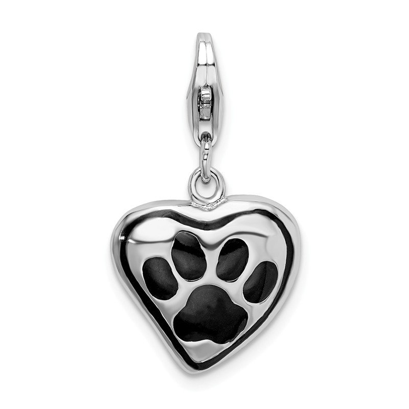 Quality Gold Sterling Silver Polished And Enameled Heart With Dog Paw Print Charm