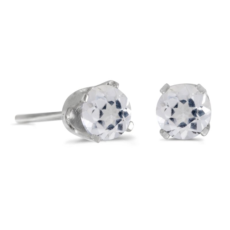 Color Merchants 4 mm Round White Topaz Stud Earrings in Sterling Silver
